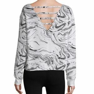 Flirtitude white marble sweatshirt large